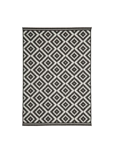 Tappeto da interno-esterno Miami, Retro: poliestere, Bianco crema, nero, Larg. 200 x Lung. 290 cm  (taglia L)