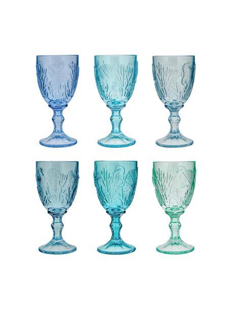 Set 6 bicchieri vino Pantelleria, Vetro, Tonalità blu, Ø 8 x Alt. 17 cm