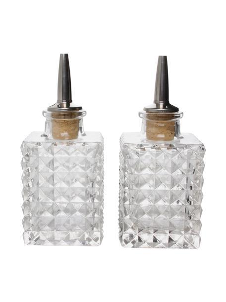 Glas-Essig- und Öl-Spender-Set Oli, 2-tlg., Transparent, Ø 6 x H 13 cm