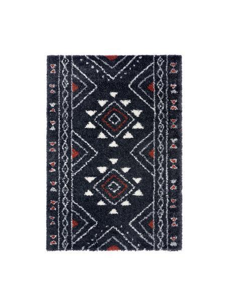 Extra weicher Hochflor-Teppich Hurley mit Ethnomuster, 100% Polypropylen, Schwarz, Cremefarben, Grau, Rostbraun, B 200 x L 290 cm (Größe L)