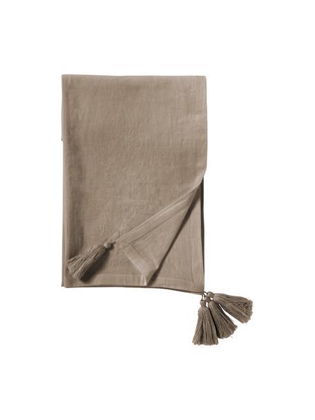 Tischdecke Benini mit Quasten, 85% Baumwolle, 15% Leinen, Greige, 130 x 270 cm