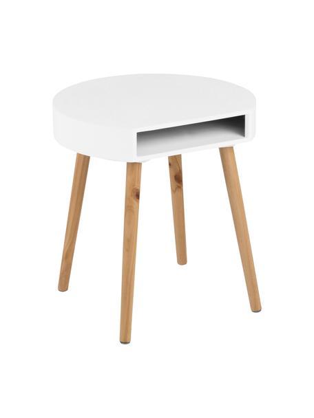 Beistelltisch Ela mit Stauraum, Holz, lackiert, Weiß, Holz, B 40 x T 36 cm