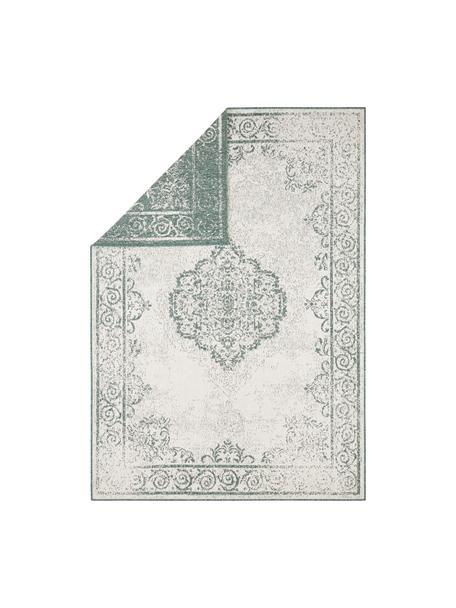 Alfombra reversible de interior/exterior Cebu, estilo vintage, 100%polipropileno, Verde, crema, An 160 x L 230 cm (Tamaño M)