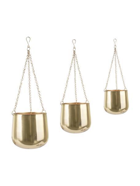 Blumenampel-Set Cask aus Metall, 3-tlg., Metall, lackiert, Goldfarben, Sondergrößen