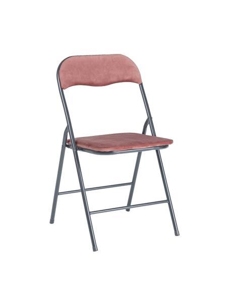Fluwelen klapstoel Amal, Bekleding: polyester fluweel, Frame: gepoedercoat metaal, Roze, grijs, B 44 x D 44 cm
