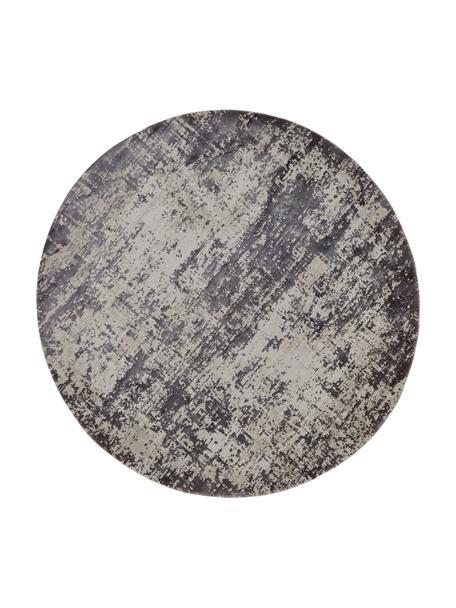 Alfombra redonda Cordoba, estilo vintage, Parte superior: 70%acrílico, 30%viscosa, Reverso: poliéster, Gris claro, gris oscuro, Ø 200 cm (Tamaño L)
