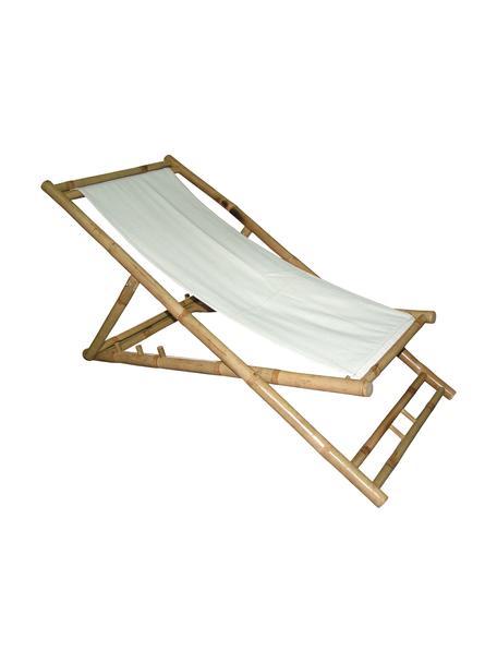 Inklapbare  bamboe ligstoel Bammina, Bamboe, textiel, Wit, 80 x 120 cm