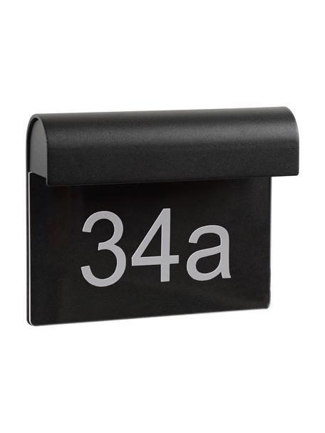 LED-Außenwandleuchte Thesi mit Hausnummer, Schwarz, 20 x 16 cm