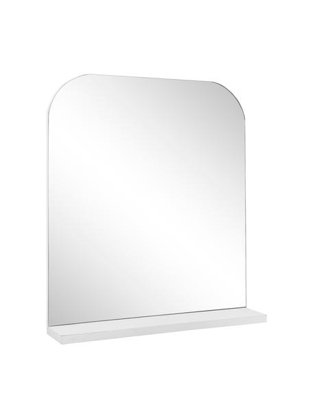 Wandspiegel Pina mit weißer Ablagefläche, Ablagefläche: Holz, Spiegelfläche: Spiegelglas, Weiß, 55 x 63 cm