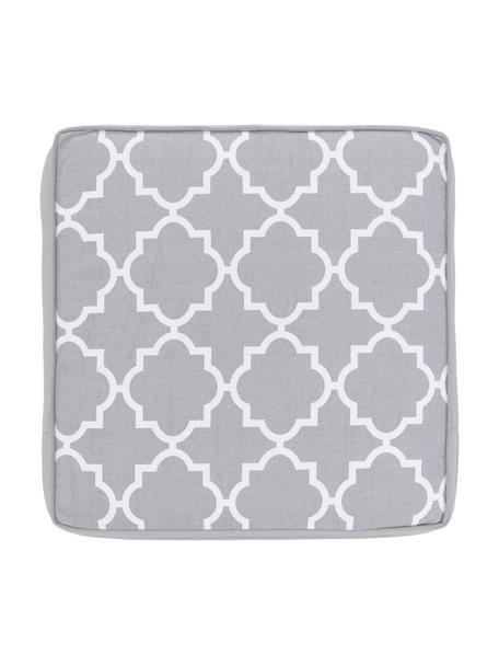 Hohes Sitzkissen Lana in Hellgrau/Weiss, Bezug: 100% Baumwolle, Grau, 40 x 40 cm