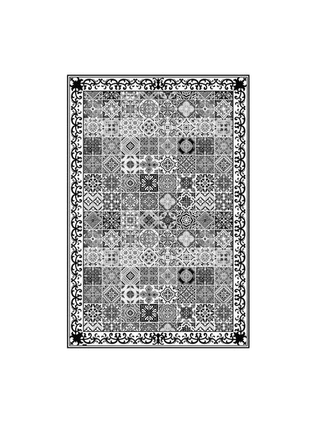 Tappetino antiscivolo nero/bianco in vinile Olè, Vinile riciclabile, Nero, bianco, grigio, Larg. 136 x Lung. 203 cm