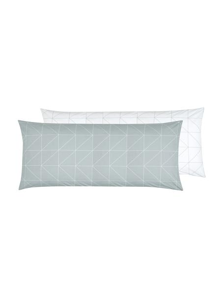 Funda de almohada de tejido renforcé Marla, caras distintas, Verde salvia, blanco crema, An 45 x L 110 cm