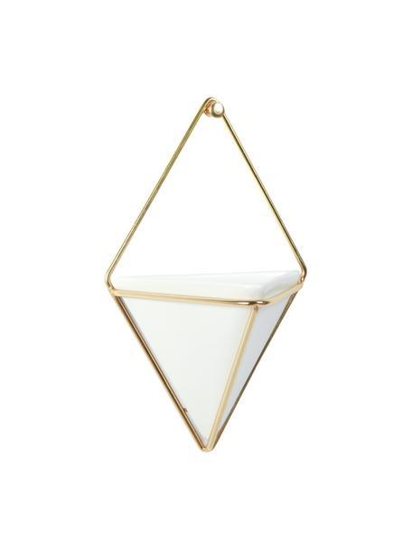 Portavaso da parete in ceramica Trigg 2 pz, Bianco, ottone opaco, Lung. 11 x Alt. 18 cm