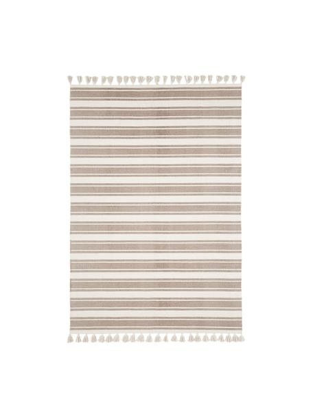 Tappeto in cotone con nappe Vigga, Taupe, beige, Larg. 160 x Lung. 230 cm