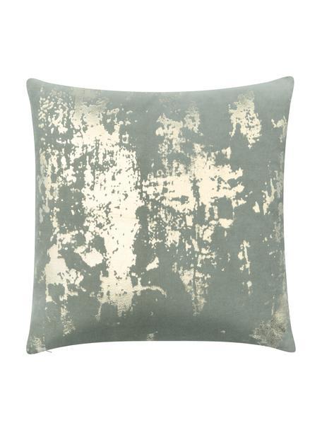 Samt-Kissenhülle Shiny mit schimmerndem Vintage Muster, 100% Baumwollsamt, Salbeigrün, Goldfarben, 40 x 40 cm
