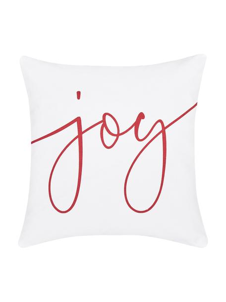 Poszewka na poduszkę Joy, Bawełna, Biały, czerwony, S 40 x D 40 cm