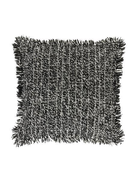 Bouclé kussenhoes Bounce met franjes, Zwart, wit, 45 x 45 cm