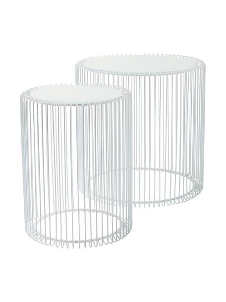Metalen bijzettafel Wire met glazen tafelblad, 2-delig, Frame: gepoedercoat metaal, Tafelblad: veiligheidsglas met folie, Wit, Set met verschillende formaten