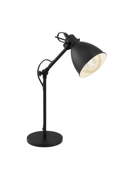 Industriële bureaulamp Ethan, Lampenkap: gepoedercoat metaal, Lampvoet: gepoedercoat metaal, Zwart, Ø 15 x H 43 cm