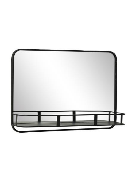 Eckiger Wandspiegel Meno mit Metallrahmen, Rahmen: Metall, beschichtet, Spiegelfläche: Spiegelglas, Schwarz, 50 x 35 cm