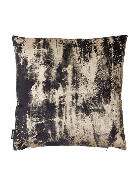 Fluwelen kussenhoes Shiny met glinsterend vintage patroon, Bovenzijde: polyesterfluweel, Onderzijde: polyester, Grafietgrijs, 40 x 40 cm