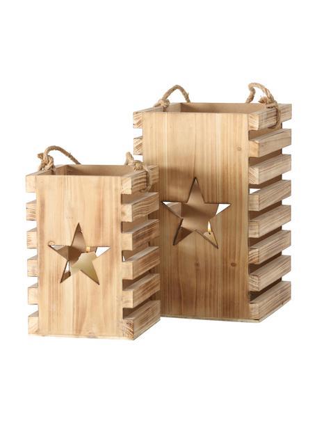 Lantaarnset Etoile, 2-delig., Sparrenhout, Dennenhoutkleurig, Set met verschillende formaten