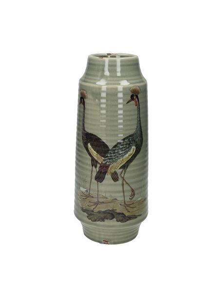 Große Vase Crane, Steingut, Grau, Mehrfarbig, Ø 13 x H 30 cm