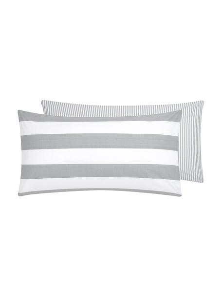 Funda de almohada de algodón  Lorena, caras distintas, Gris claro, crema, An 45 x L 85 cm