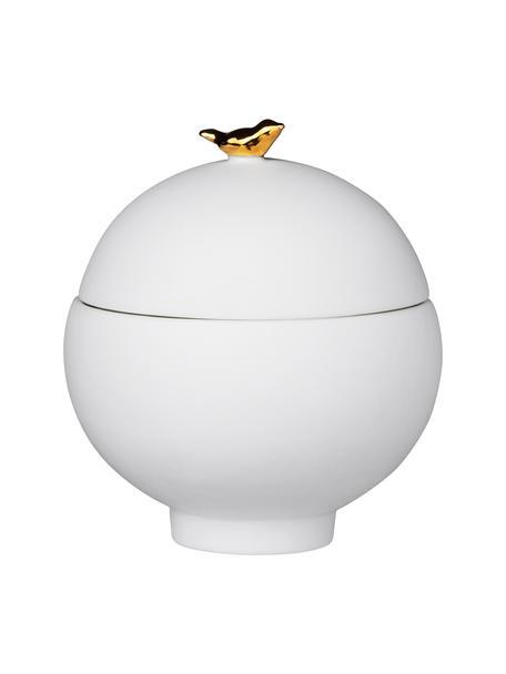 Aufbewahrungsdose Vogel, Porzellan, Weiß, Ø 7 x H 8 cm