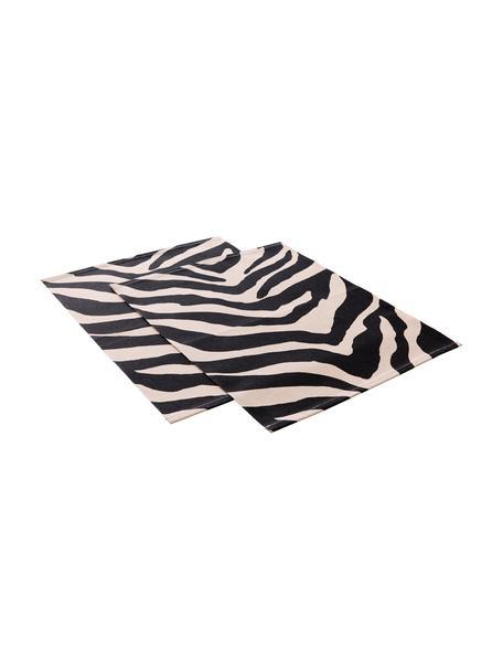 Katoenen placemats Jill met zebra print, 2 stuks, Katoen, Zwart, crèmekleurig, 35 x 45 cm