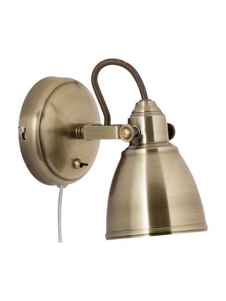 Wandleuchte Fjallbacka mit Stecker, Lampenschirm: Metall, beschichtet, Goldfarben mit Antik-Finish, 12 x 17 cm