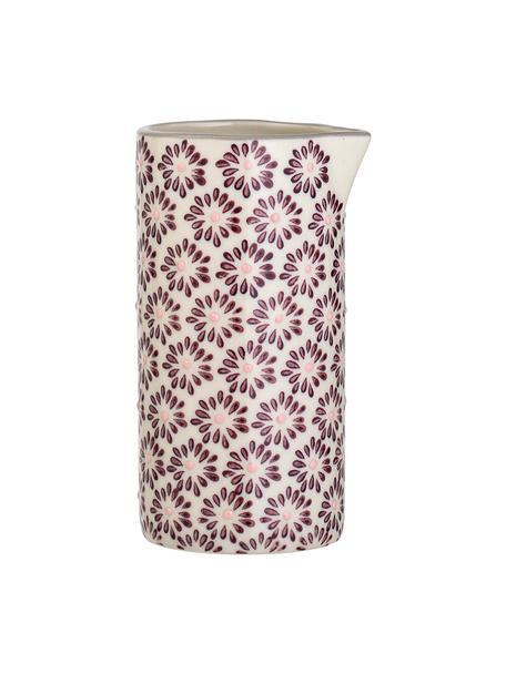 Handgefertigtes Milchkännchen Maya mit kleinem Muster, 250 ml, Steingut, Violett, Weiß, Ø 6 x H 12 cm