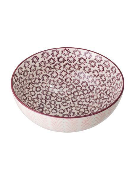 Kom Maya met bloemmotief van keramiek, Ø 21 cm, Keramiek, Beige, roze, lila, blauw, Ø 21 x H 9 cm