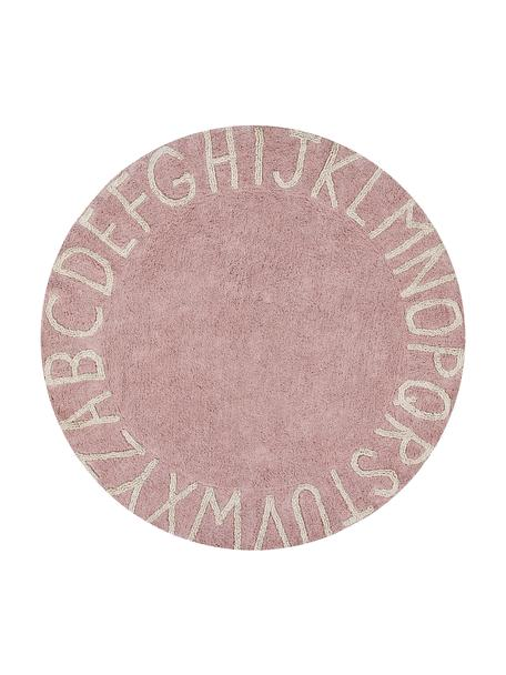 Runder Teppich ABC mit Buchstaben Design, waschbar, Flor: 97% Baumwolle 3% Gemischt, Rosa, Beige, Ø 150 cm (Größe M)
