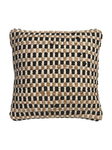 Poszewka na poduszkę z bawełny i juty Fiesta, Czarny, beżowy, S 45 x D 45 cm
