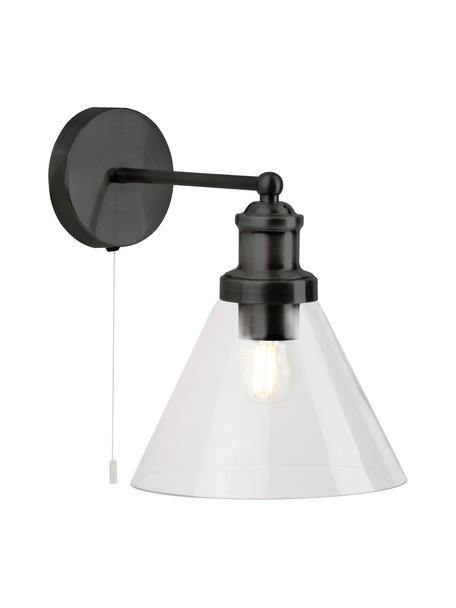 Aplique Pyramid, Pantalla: vidrio, Interruptor: plástico, Negro, transparente, An 19 x Al 25 cm