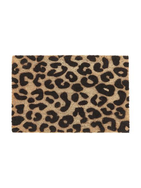 Fußmatte Leopard, Oberseite: Kokosfaser, Unterseite: PVC, Beige, Schwarz, 40 x 60 cm