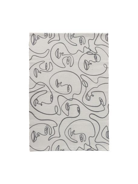 Vloerkleed Picas met abstracte One Line tekening, 50% katoen 50% polyester, Gebroken wit, zwart, B 60 x L 90 cm (maat XXS)