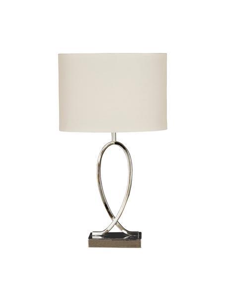 Tischlampe Posh mit ovalem Schirm, Lampenschirm: 40% Acryl, 60% Polyester, Chrom, Weiss, 30 x 54 cm