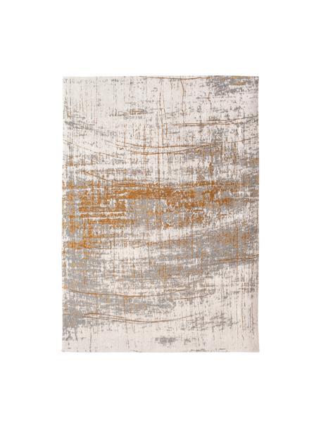 Tappeto Griff, Tessuto: Jacquard, Retro: Miscela di cotone, rivest, Grigio, dorato, bianco, Larg. 140 x Lung. 200 cm