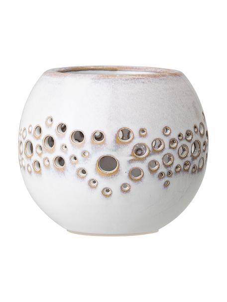 Handgefertigter Teelichthalter Toto, Steingut, Weiß, Beige, Ø 10 cm