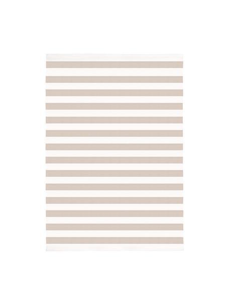 Gestreifter Baumwollteppich Blocker in Beige/Weiß, handgewebt, 100% Baumwolle, Cremeweiß/Taupe, B 50 x L 80 cm (Größe XXS)
