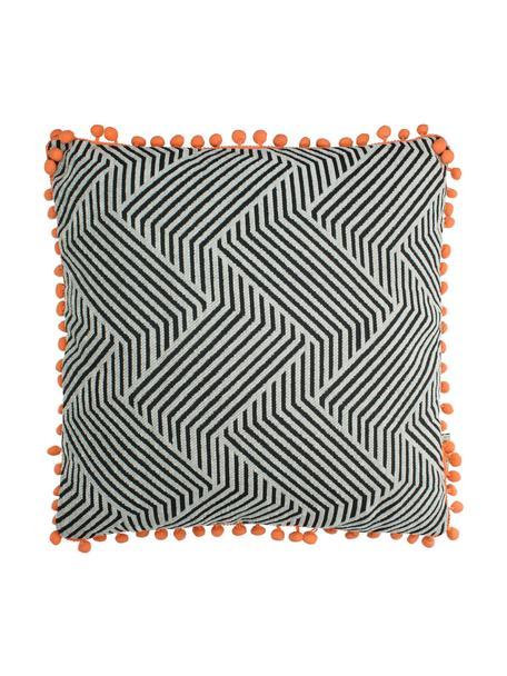 Kissen Waves mit orangefarbenden Bommeln, mit Inlett, Schwarz, gebrochenes Weiss, Orange, 45 x 45 cm