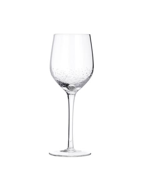 Kieliszek do wina białego ze szkła dmuchanego Bubble, 4 szt., Szkło dmuchane, Transparentny z bąbelkami powietrza, Ø 8 x 21 cm