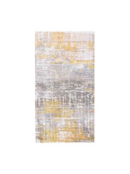 Tappeto di design grigio/giallo Streaks, Tessuto: Jacquard, Retro: Miscela di cotone, rivest, Giallo, grigio, bianco, Larg. 80 x Lung. 150 cm (taglia XS)
