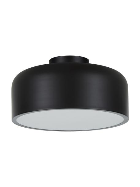 Scandi plafondlamp Ole, Diffuser: acryl, Mat zwart, Ø 35 x H 18 cm