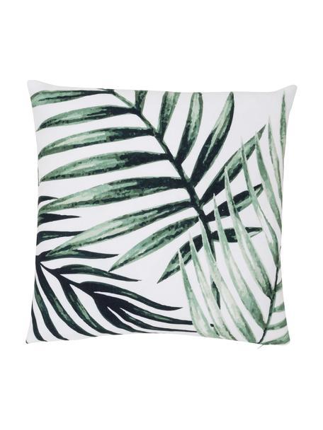 Kussenhoes Coast met bladpatroon, 100% katoen, Groen, wit, 40 x 40 cm