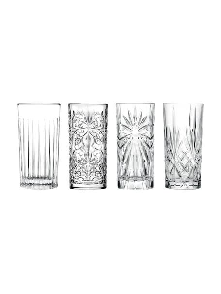 Kristall-Longdrinkgläser Bichiera mit Reliefmuster, 4er-Set, Kristallglas, Transparent, Ø 7 x H 15 cm