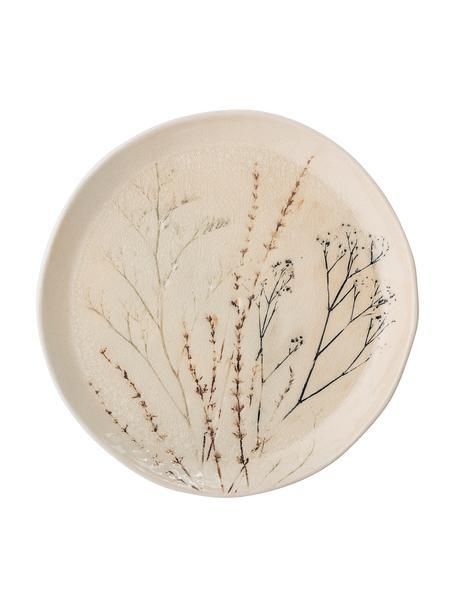 Handgemachte Servierplatte Bea mit Gräser-Motiv, Ø 28 cm, Steingut, Beige, Mehrfarbig, Ø 28 x H 4 cm