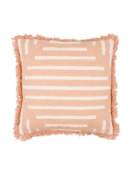 Boho Kissen Ayana mit Fransen, mit Inlett, Bezug: 100% Baumwolle, Terrakotta, Creme, 45 x 45 cm